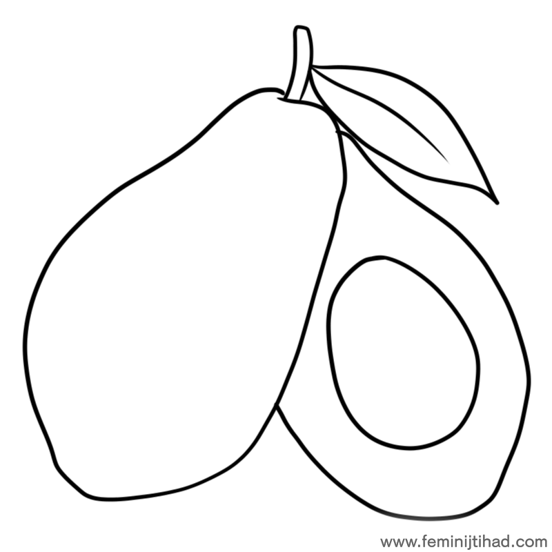 Easy Avocado Coloring Pages For Toddler Color, Coloring