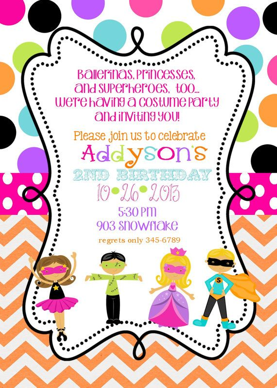 Costume Birthday party Invitations with envelopes by