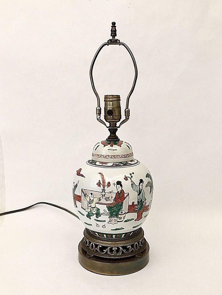Vintage Asian Ginger Jar Lamp Chinoiserie 19 Tall