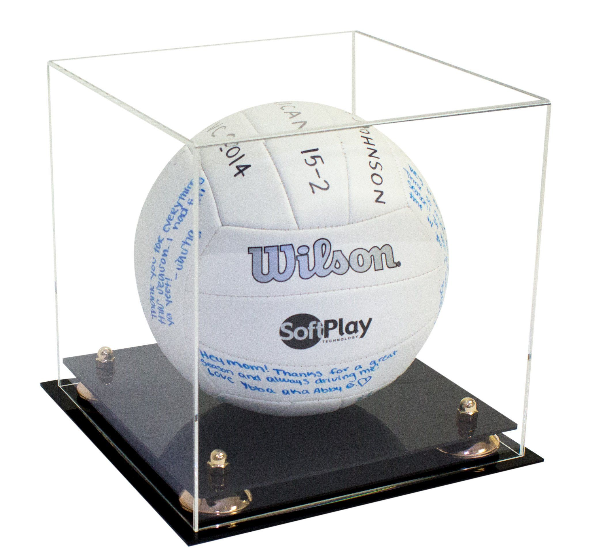 Deluxe Clear Acrylic Volleyball Display Case With Risers A027 Display Case Acrylic Display Box Clear Acrylic