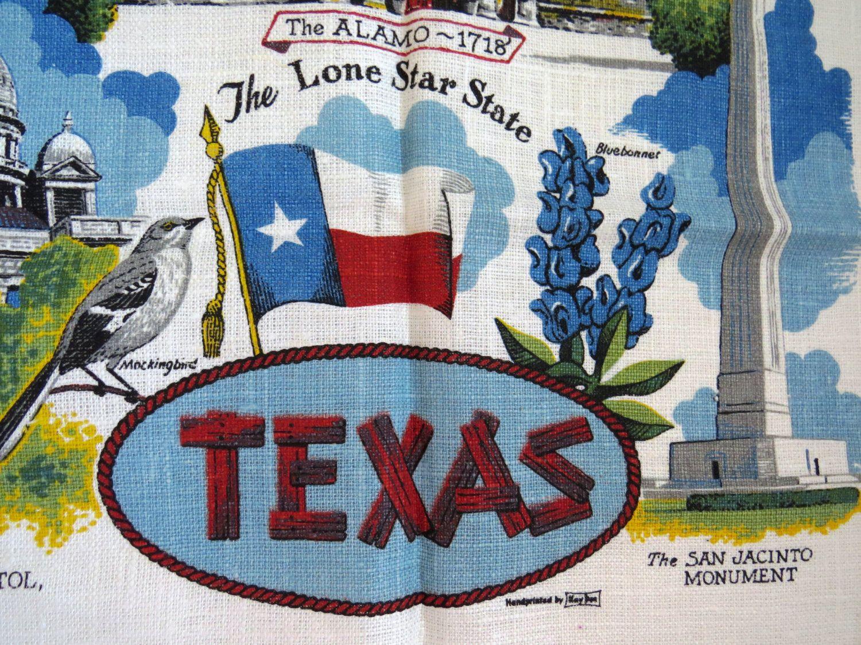 Vintage Texas State Tea Towel by Kay Dee - Texas Map Souvenir ...