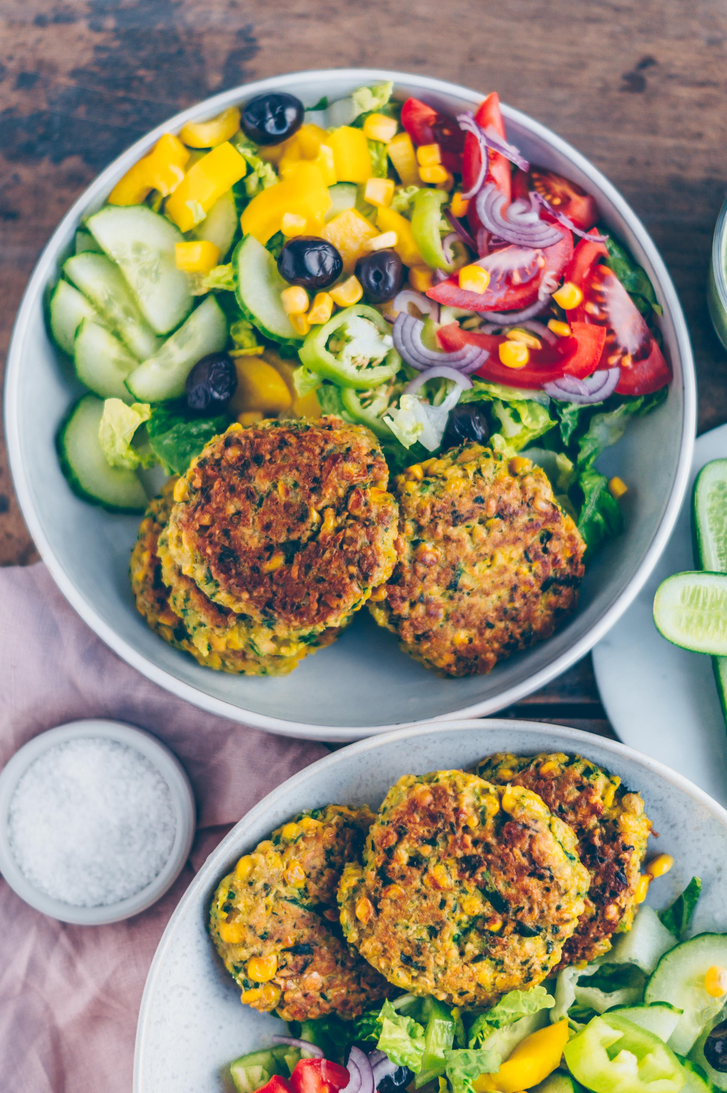 Crunchy Corn Patties With Spinach