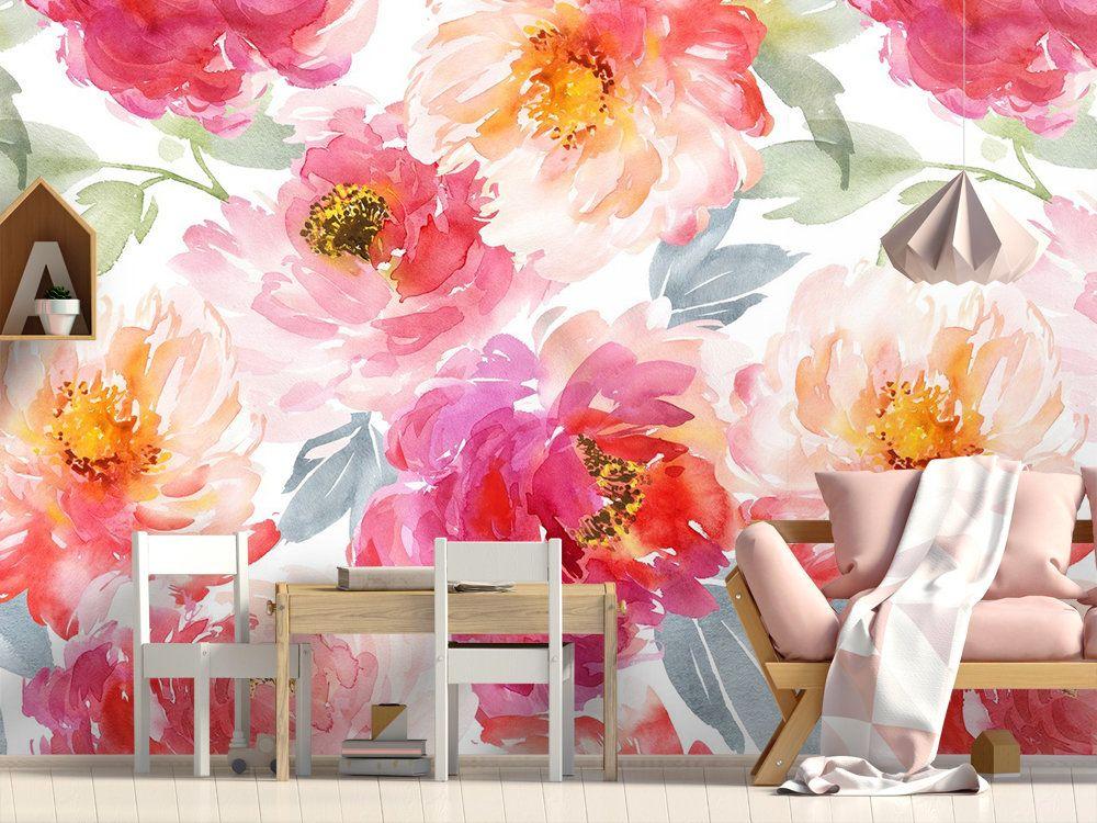 Pink Watercolor Vintage Flower Wallpaper Pink Peony Wall Mural Etsy Vintage Flowers Wallpaper Stick Wall Art Flower Wallpaper