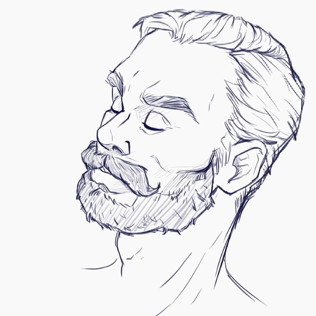 Elena On Instagram Man S Head Draw Drawing Sketching Sketch Sketchbook Digitaldrawing Head Practicing Humanbody Beard Drawing Beard Art Sketch Head
