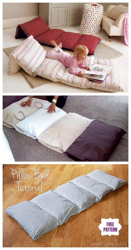 DIY Einfache Roll Up Pillow Bett Bodenkissen | round pillow diy simple