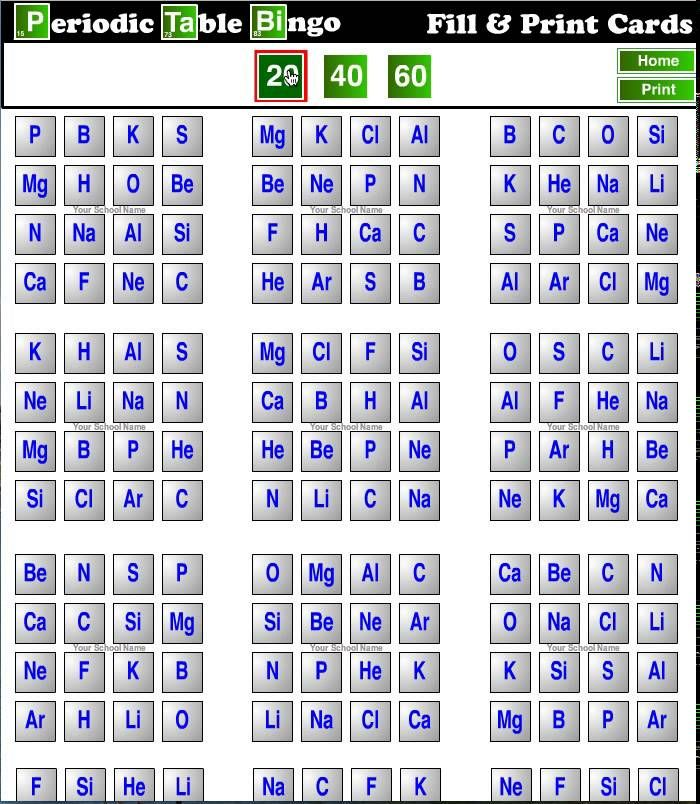Periodic Table   Chemical Bingo Public Health Medicine  Nursing - new periodic table no. crossword