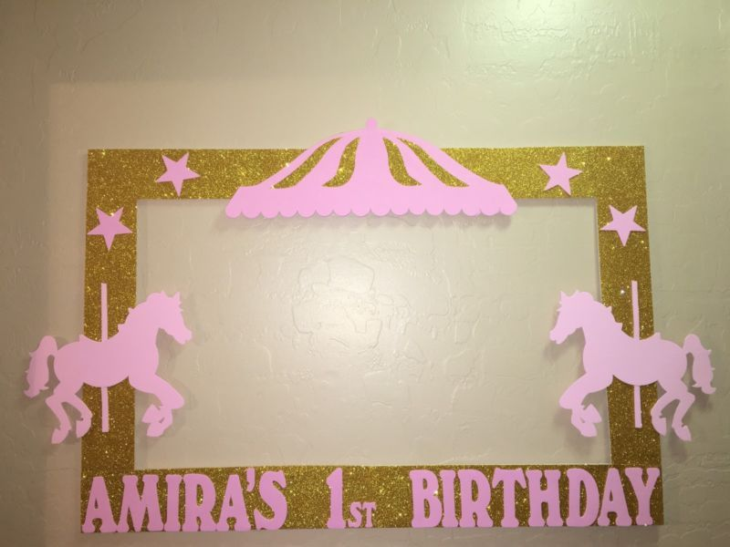 Circus Carousel Pink And Gold birthday Photo Booth Frame To Take ...