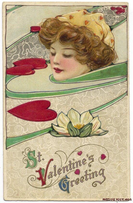 Winsch Schmucker Valentine's Day Lady in Art Nouveau Swirl 1912 | eBay