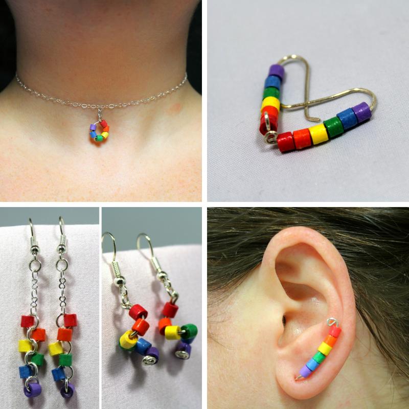 Pride Earring Set Unique Earring Set Handmade Earrings Black Earrings- Rainbow Earrings Black Rainbow Studs Rainbow Jewelry