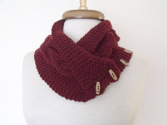 NEW Bordeaux Ivy Neckwarmer With Button And by knittingshop, $25.00