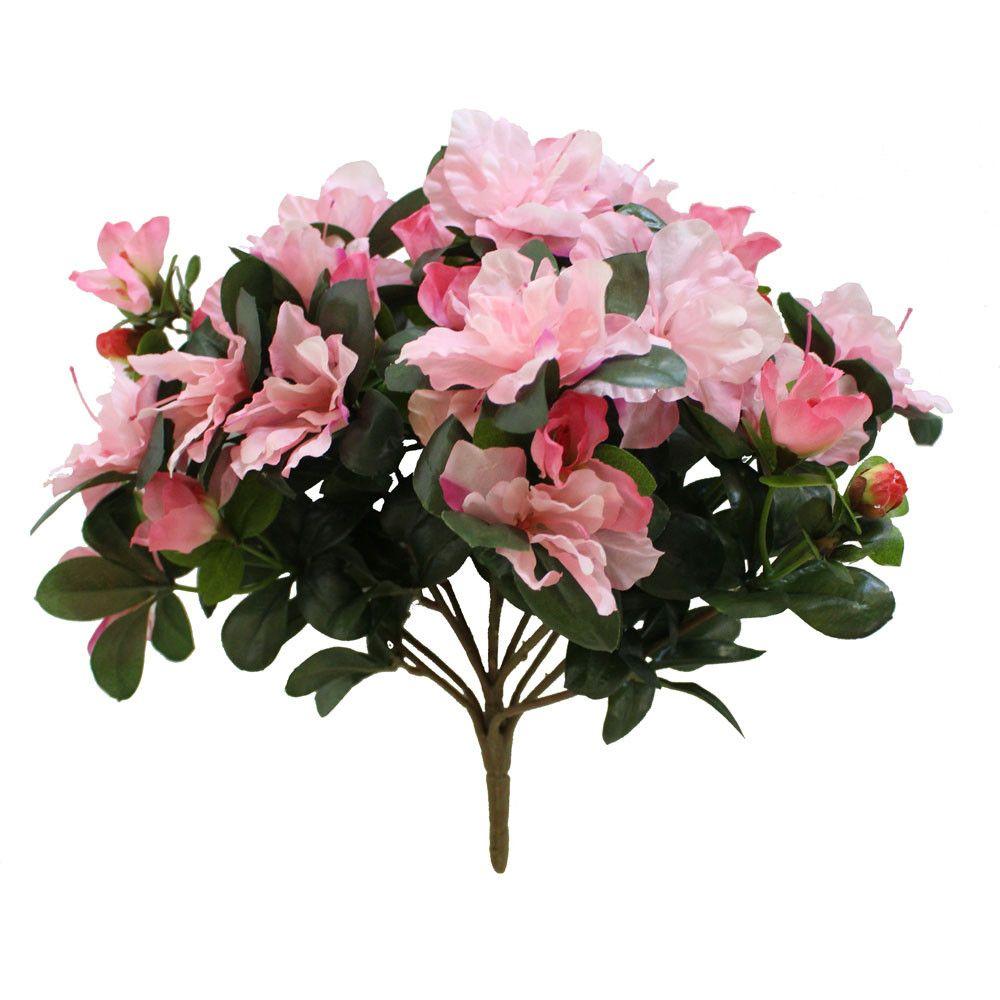 """Silk Flower Water-Resistant Azalea Bush in Light Pink 14"""" Tall"""