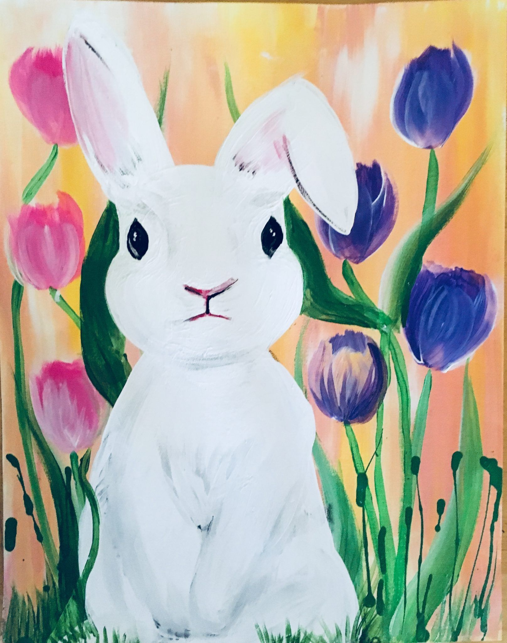 How To Paint A Rabbit : paint, rabbit, Easter, Canvas, Painting, Bunny, Silhouette, Acrylic, Tutorial, Projects,, Painting,, Paintings