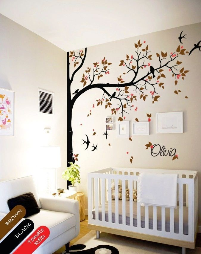 Nursery wall decal tree swallows and baby name baby room for Turnwand kinderzimmer