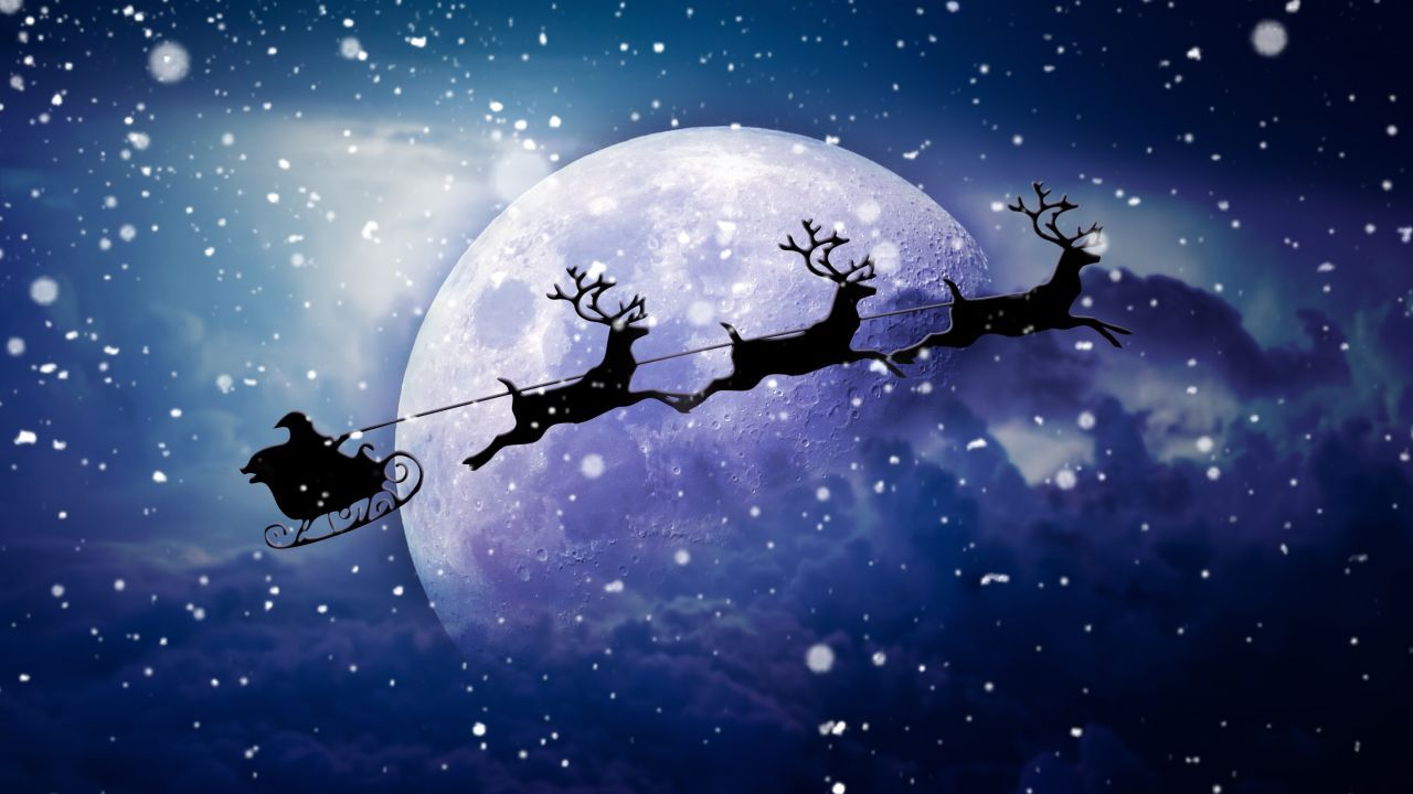 Santa Claus Chariot Moon Snowfall Reindeer Chariot Hd Christmas Night Santa Sleigh Santa And Reindeer