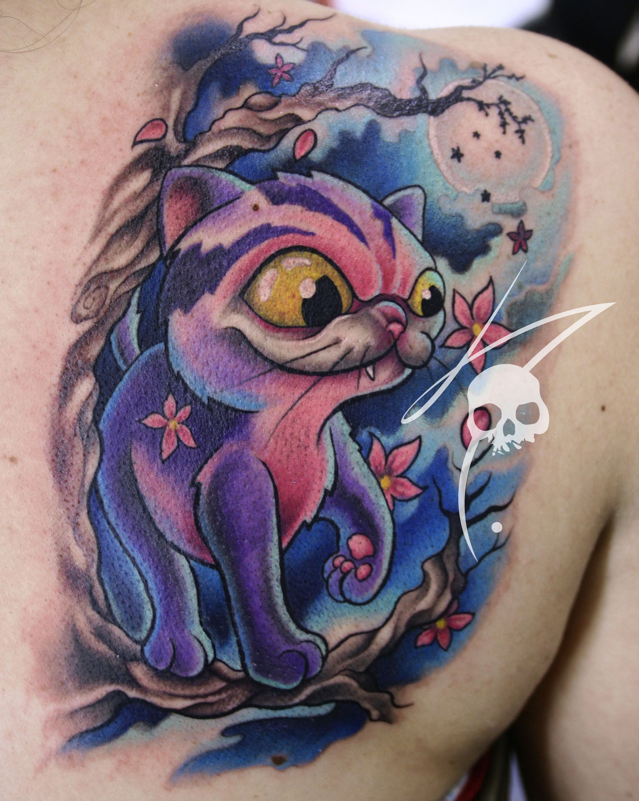 Cat New School Tattoo Color By Javierfranco Colombia Tattoos