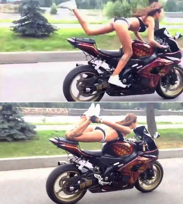 A Bike And No Sense Of Fear Russian Biker Have Fun With Her Ride
