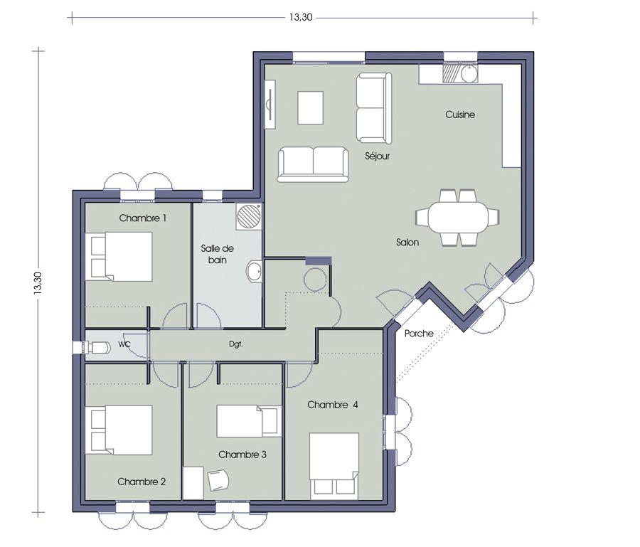 Plan Opaline 4 Chambres Maisons Pinterest Opaline, Bungalow - plan de maison de 100m2 plein pied