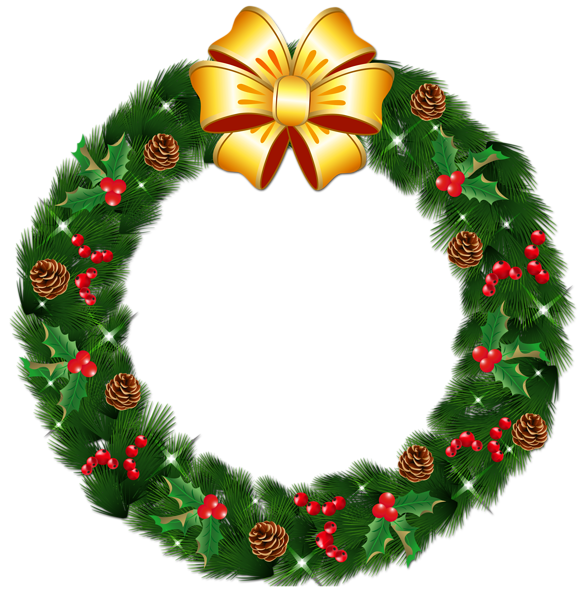 Transparent Christmas Pine Wreath With Gold Bow Png Clipart Christmas Wreath Image Christmas Wreath Clipart Christmas Wreath Illustration