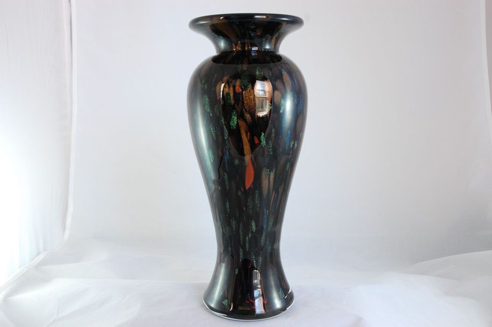 Black Amethyst Copper Green Blue Aventurine Spatter Art Glass Vase