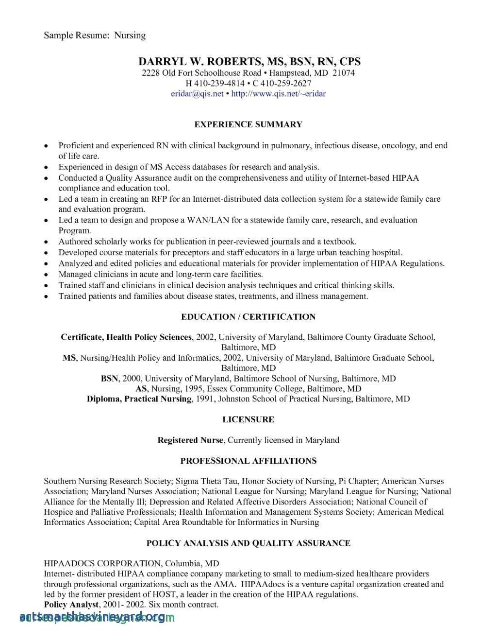 New Grad Registered Nurse Resume Sample Unique Sample