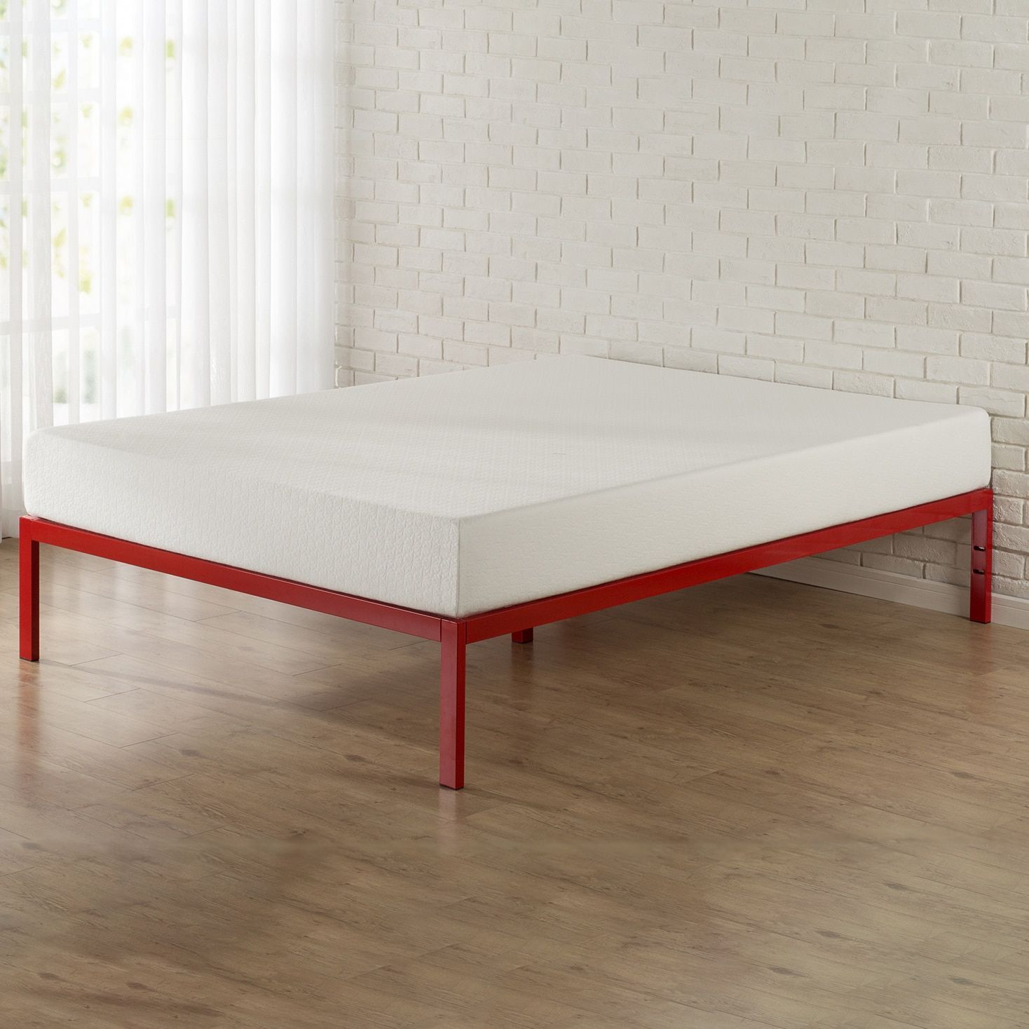 Priage 1500 Red Platform Bed Frame (Full) | Platform bed frame, Bed ...