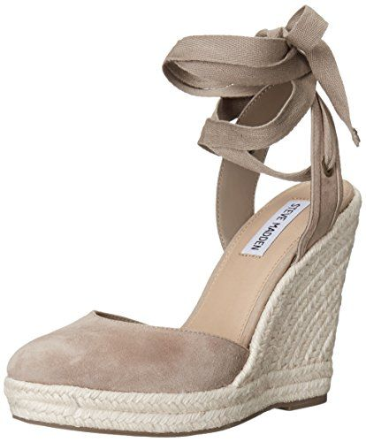 Steve Madden womens barre espadrille wedge sandal taupe suede ...