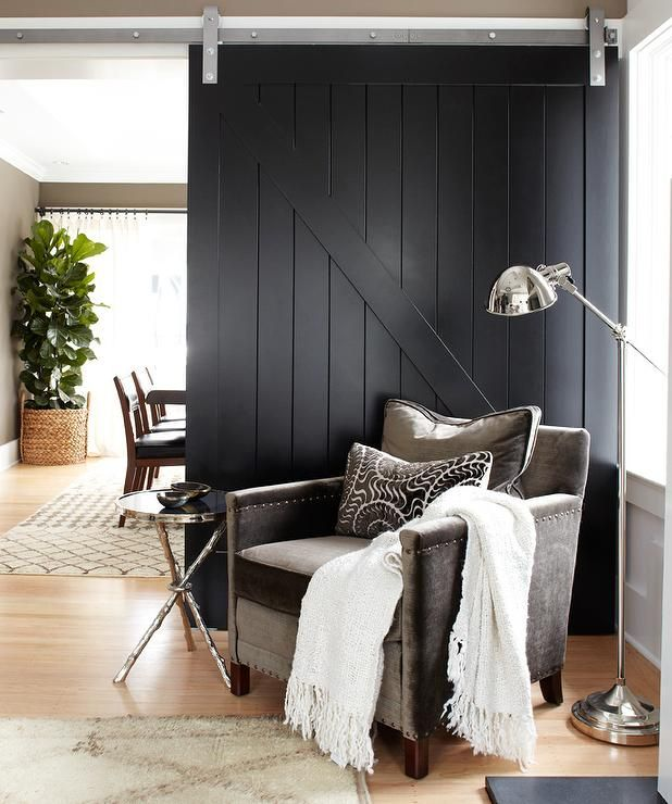 Black Sliding Barn Door Contemporary Living Room Urrutia Design Interior Barn Doors Painted Interior Doors Doors Interior