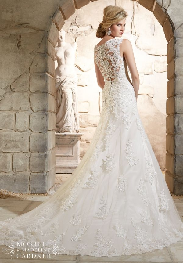 Mori Lee 2785 back - Alencon Lace Appliques on Net with Crystal Beading and Scalloped Hemline Over Soft Satin