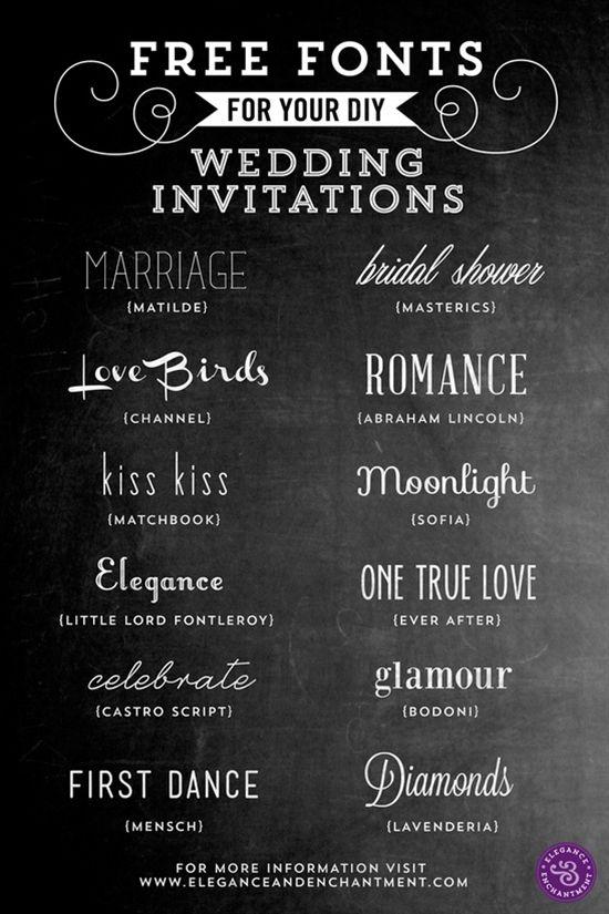 Tipos de letra para invitaciones de boda Fuentes Pinterest