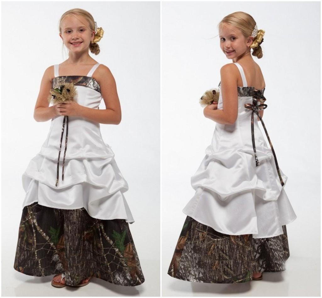 Redneck wedding dress  Camo Flower Girl Dresses Bateau Spaghetti Strap Laceup Back Floor