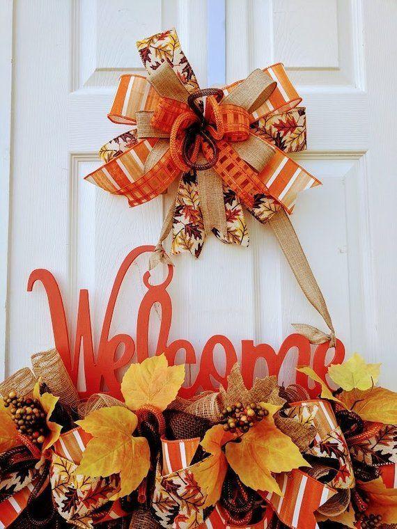Fall welcome door hanger, Fall door decor, Fall Harvest decor, fall leaves, Welcome door hanger, Door hanger decor, door decorations