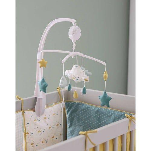 Tour de lit bébé en coton blanc, bleu et jaune moutarde | chambre ...