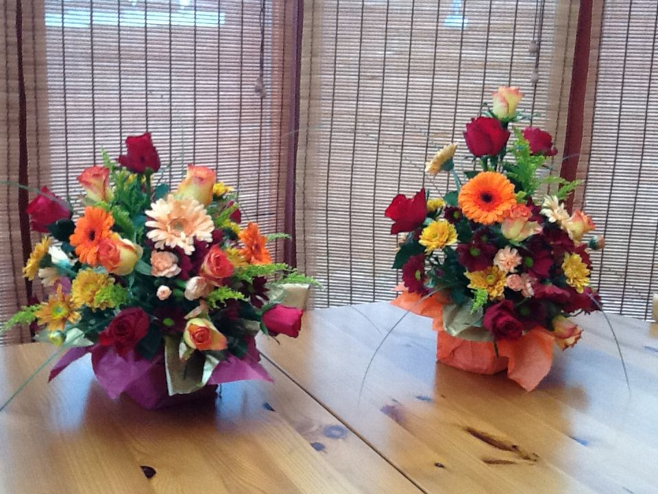 Floral displays made for Caroline Redman Lusher and the Rock Choir Team