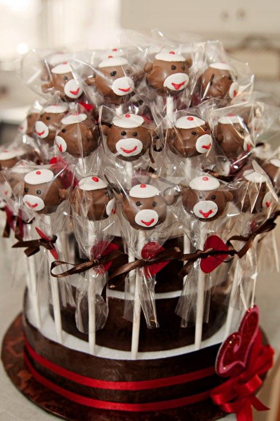 sock monkey cake pops great blog lavinia s baby shower games