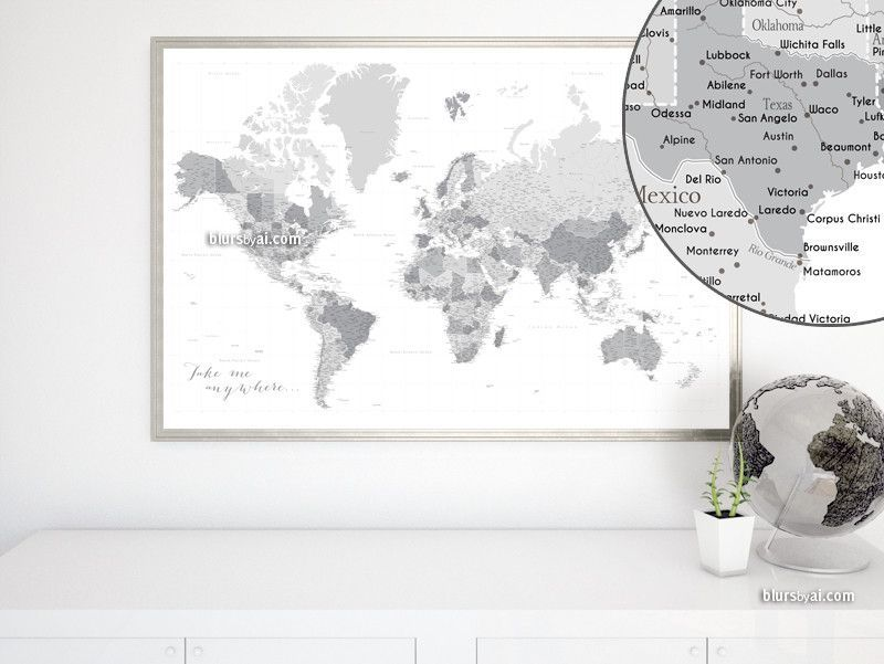 Custom Quote Highly Detailed World Map Printable With Cities - Us world map printable