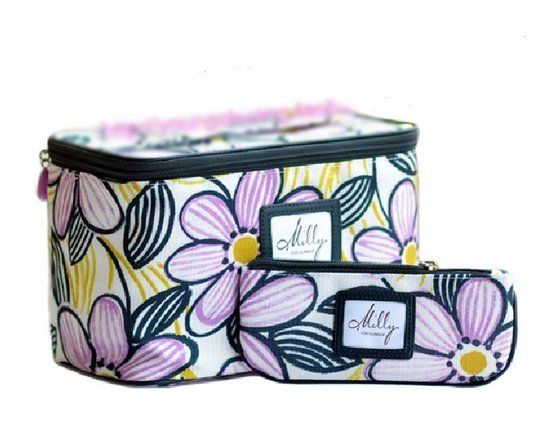 Milly For Clinique Deluxe Cosmetic Bag Train Case Makeup Bag Duo