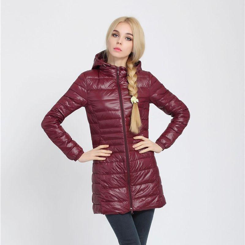 Snowka أنثى الدافئة الشتاء سترة المرأة معطف رقيقة ماركة 90