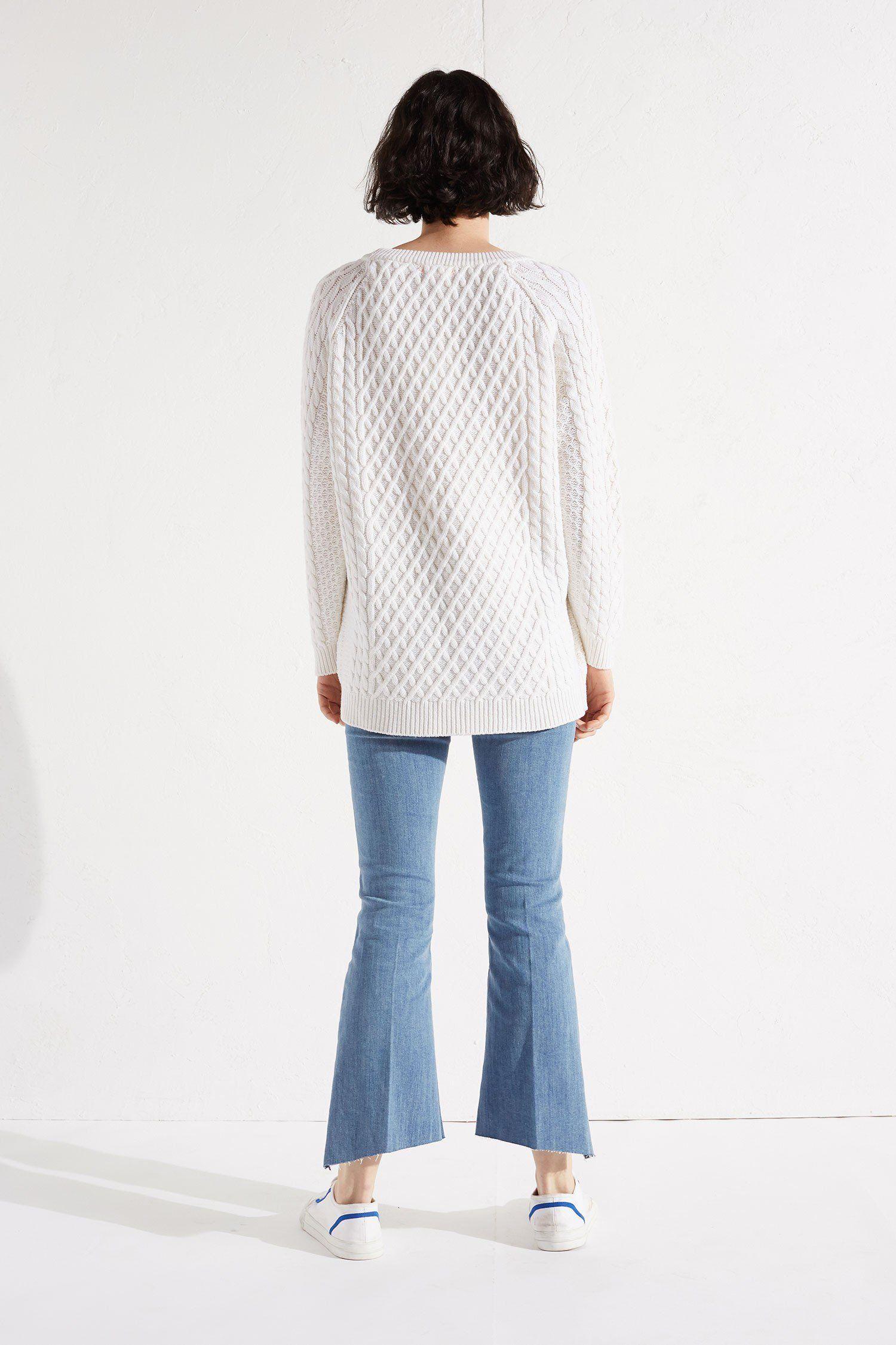 White Aran Merino Boyfriend Sweater | Luxury Sweaters | CHINTI ...