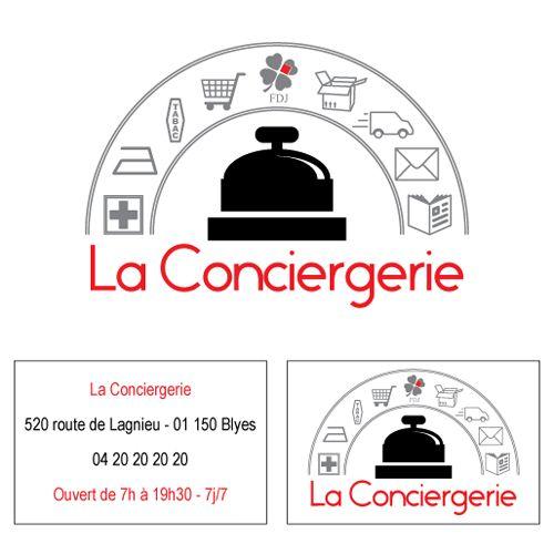 La Conciergerie Commerce Multi Services Epicerie Presse Fdj Tabac Et Creation Declinaison De Logo Sur Une Carte Visite