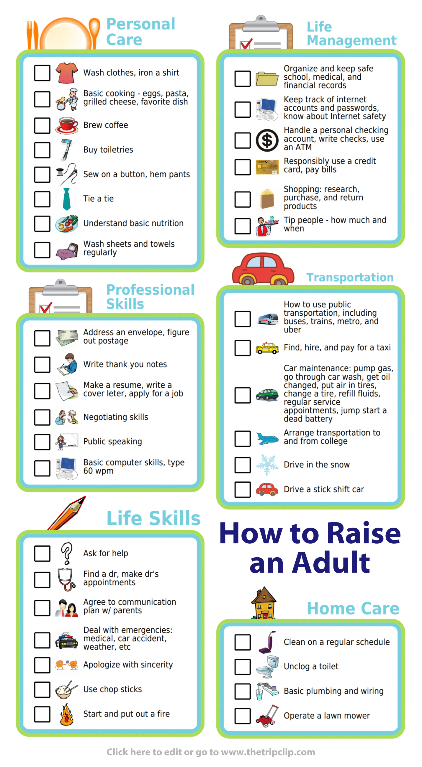 Free Printable How To Raise An Adult