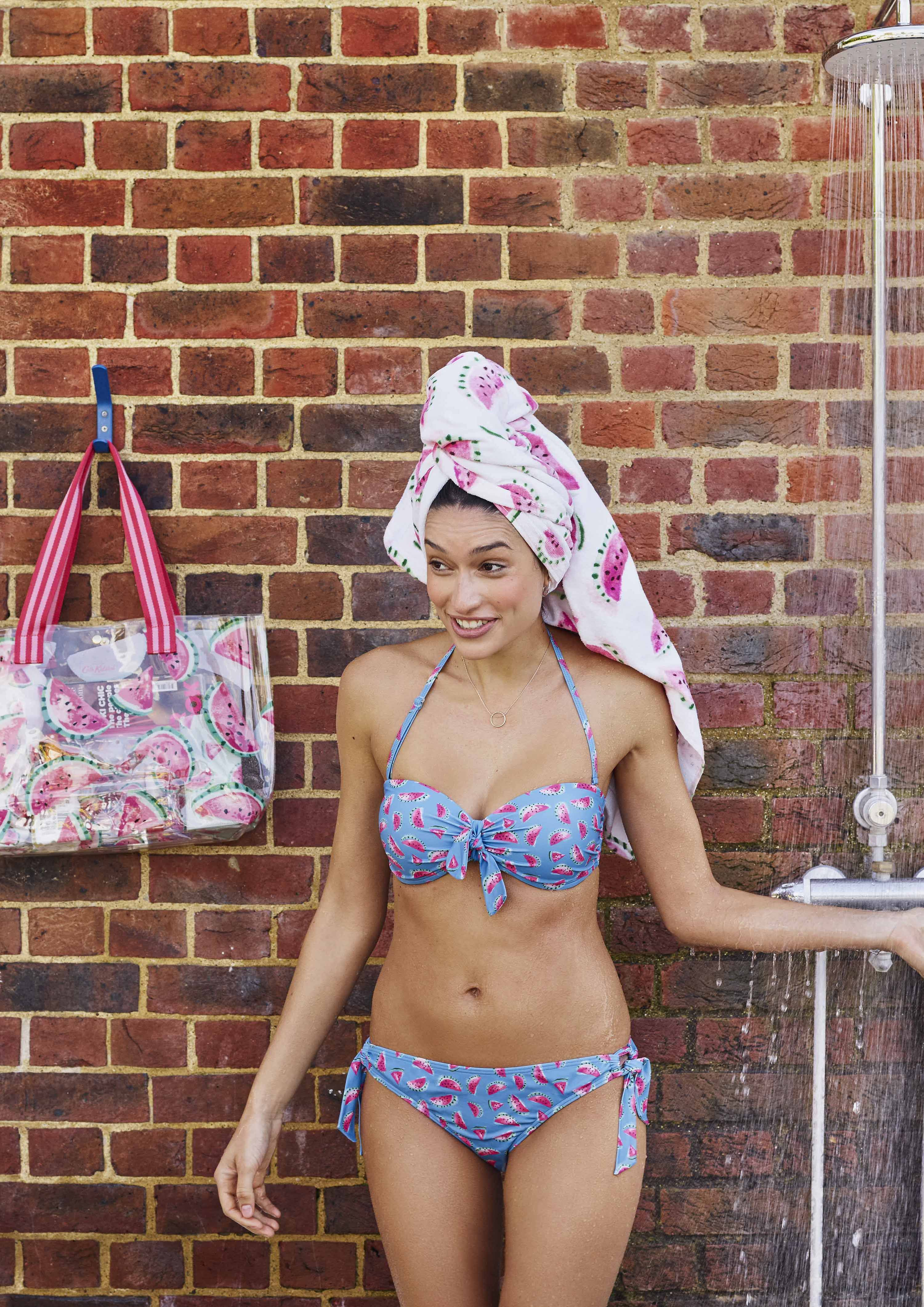 f9065d2f74 Mini Watermelons Bikini - The perfect summer swimwear in a blue watermelon  print. This bikini has a moulded, bandeau style top with a removable  halterneck ...