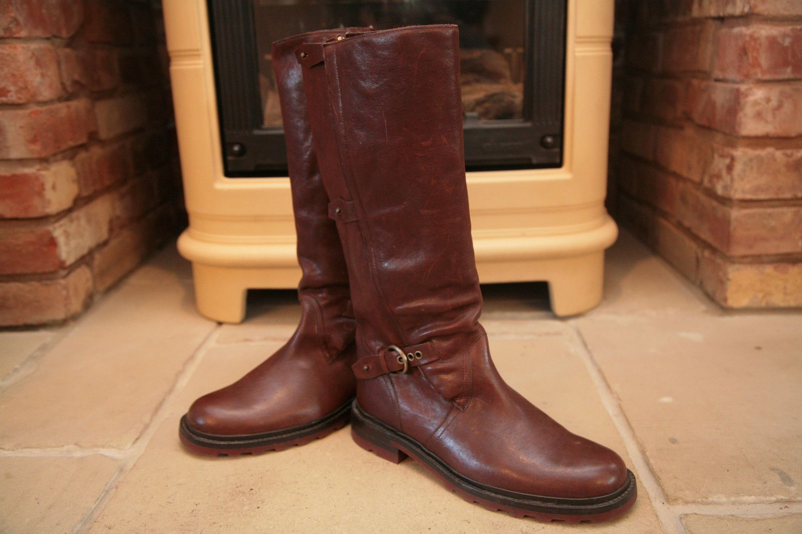 Rare Bally Men's Brown Leather Tall Field Boots Shoes Size