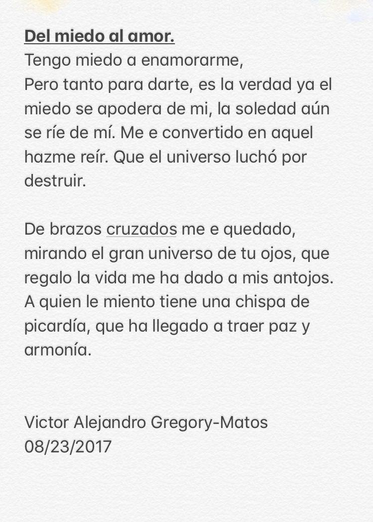 Poema Del miedo al amor Por Vctor Alejandro Gregory Matos poemas poema