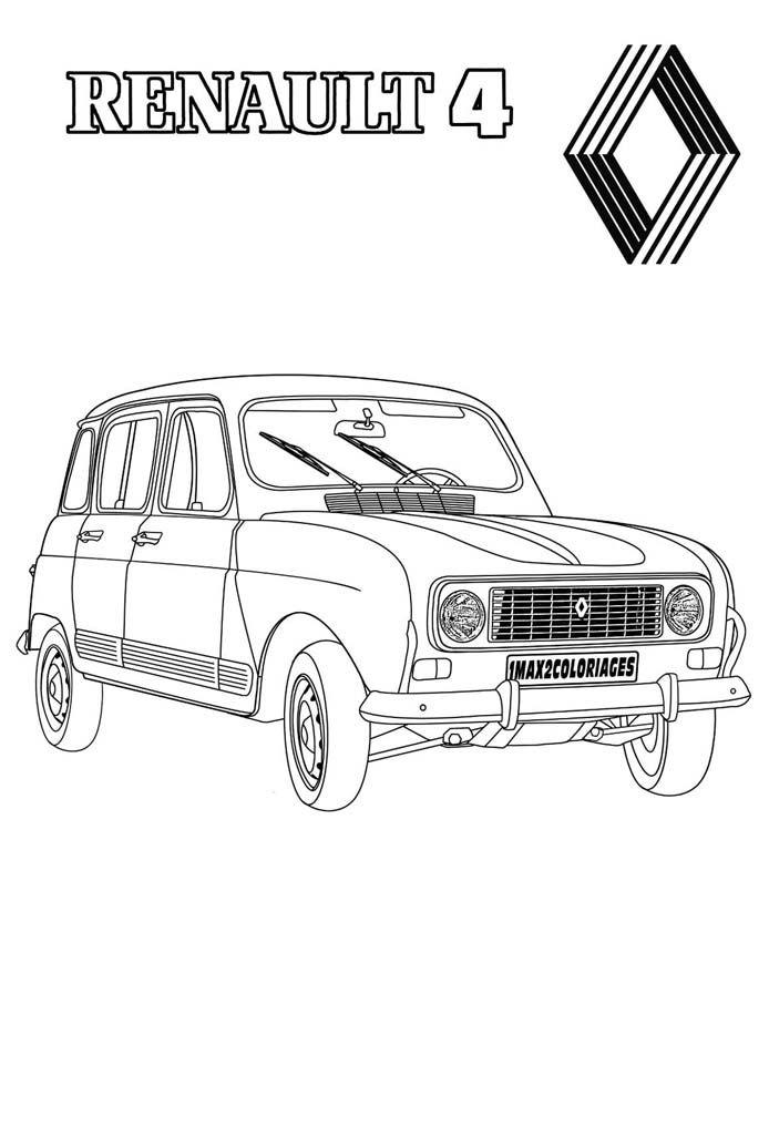 Renault 4 L Dessin Voiture 4l Renault 4l Voiture