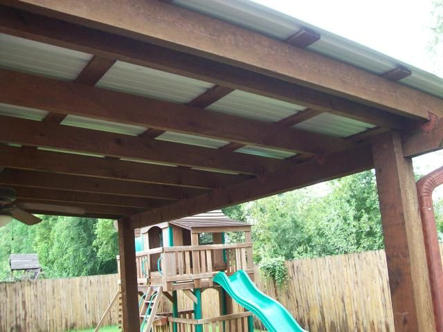 Patio With Roof Simple Cedar Overhang With A Painted Metal Roof