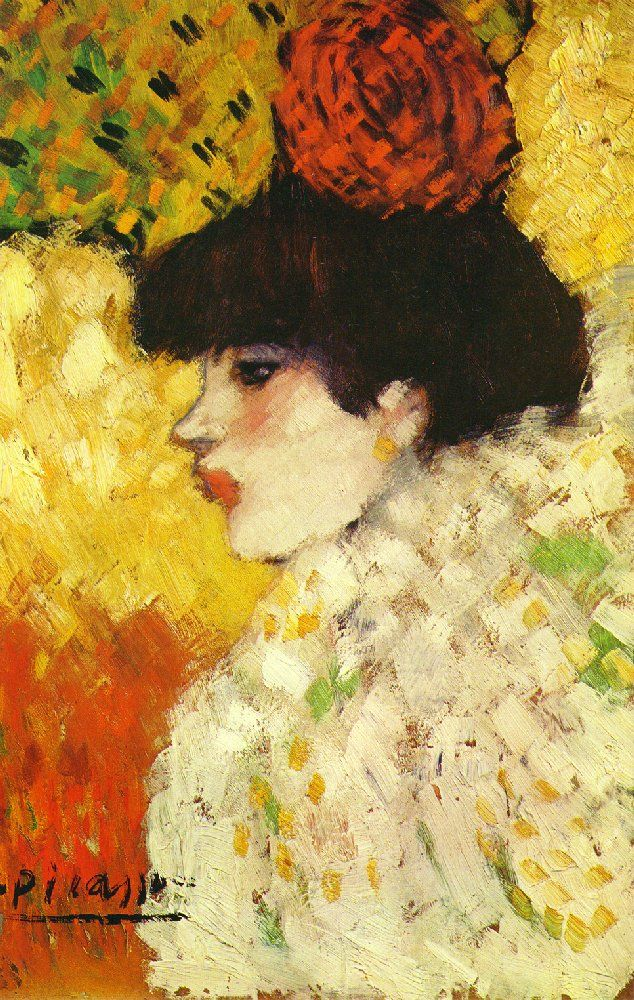 Picasso 1901 Profile Of A Young Girl Girl With Red Flower In Her