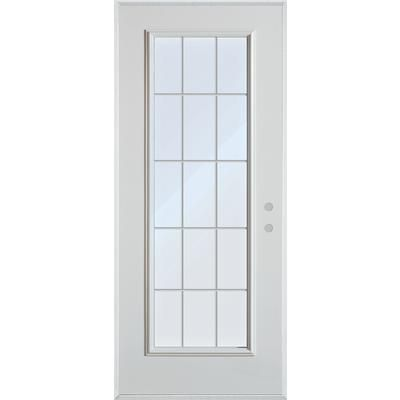 Stanley doors 15 lite internal grille painted steel for Home depot exterior doors canada