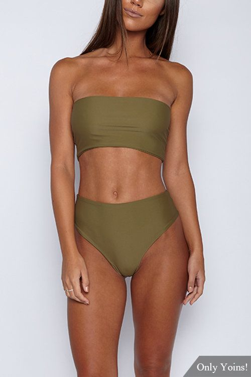 e2efe1c5bdb12 Khaki Sleeveless Tube Top Bikini Set - US$7.95 in 2019 | ISSA LOOK ...