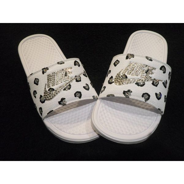 Just in Nike Benassi Slides White Silver Cheetah Leopard Print Blinged...  ( 70) ❤ liked on Polyvore featuring shoes e976a49e52
