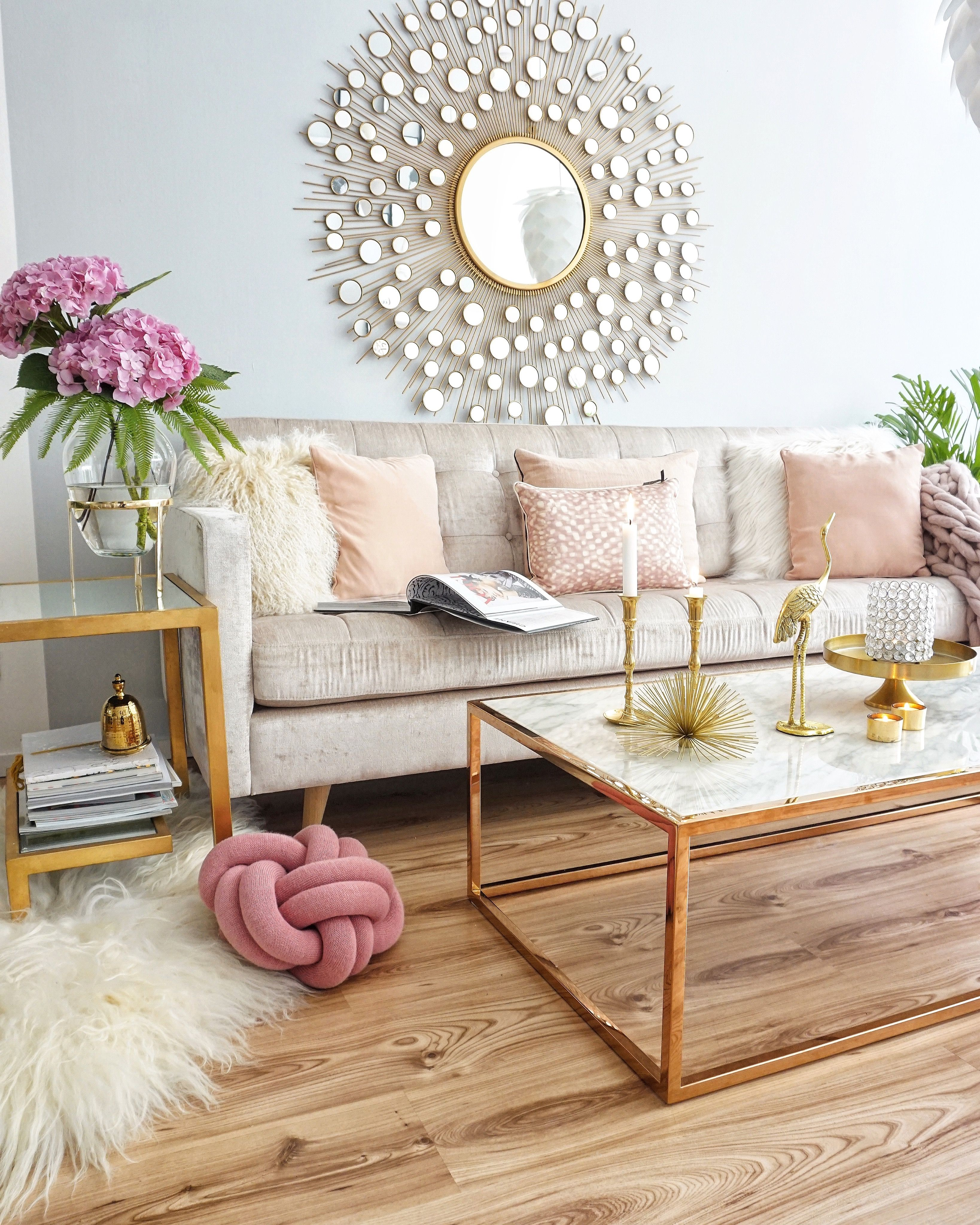 New Vase In Gold Pastel Living Room Living Room Decor Traditional Chic Living Room #pink #and #gold #living #room #decor